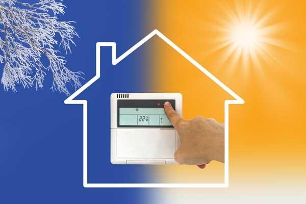 Chauffage et climatisation d'une maison thermostat