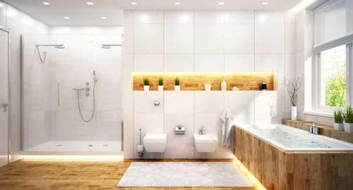 Salle de bain moderne avec baignoire, wc surélevé et douche italienne