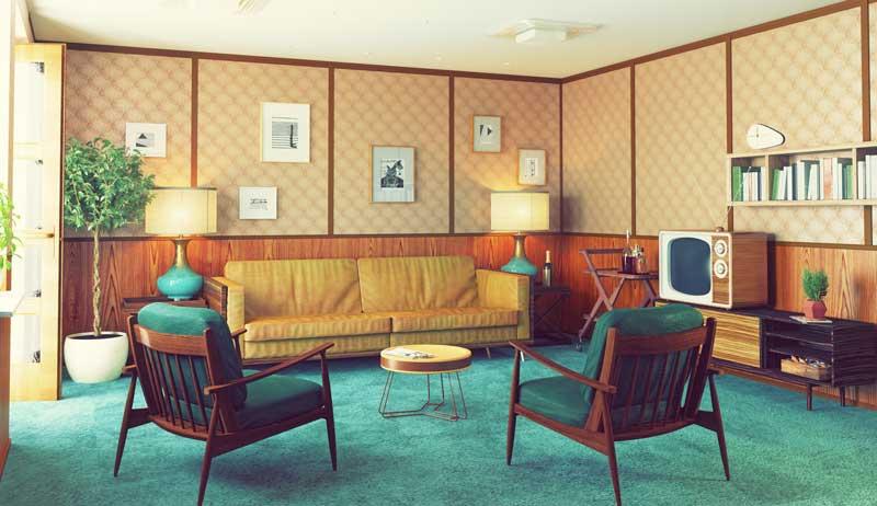mur papier peint salon. Papier peint années 70