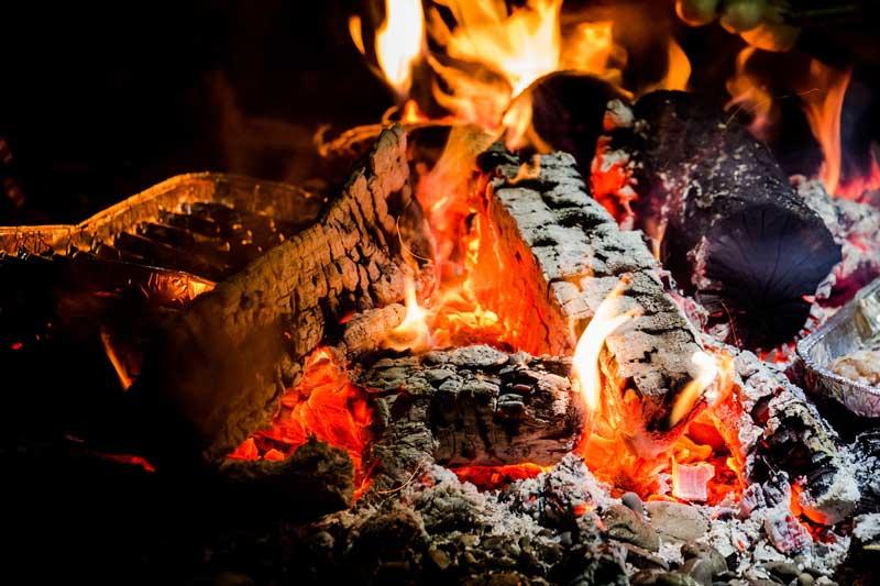 feu de cheminée avec bois de chauffage