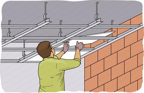 pose faux plafond suspendu dalle 60x60