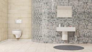 Toilette moderne à différents carrelage