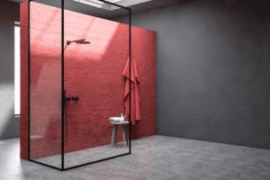 Porte de douche design avec cadre noir
